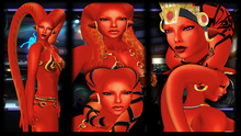 SKBW Rigged Mesh Hair Tentacles - Red