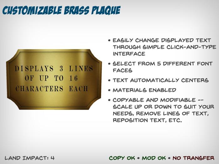 [S2S] Customizable Brass Plaque