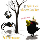 [ FULL PERM ] Halloween Dead Tree + Spider + Crow