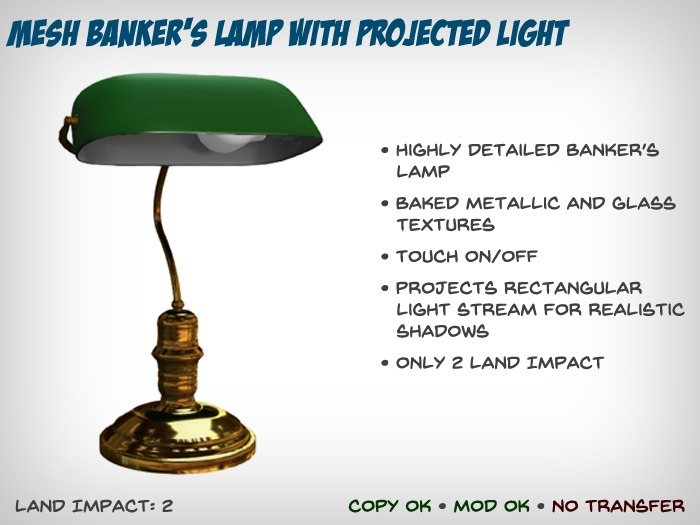 Mesh Banker's Lamp with Projected Light