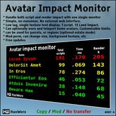 HaxWorx avatar script and render lag monitor