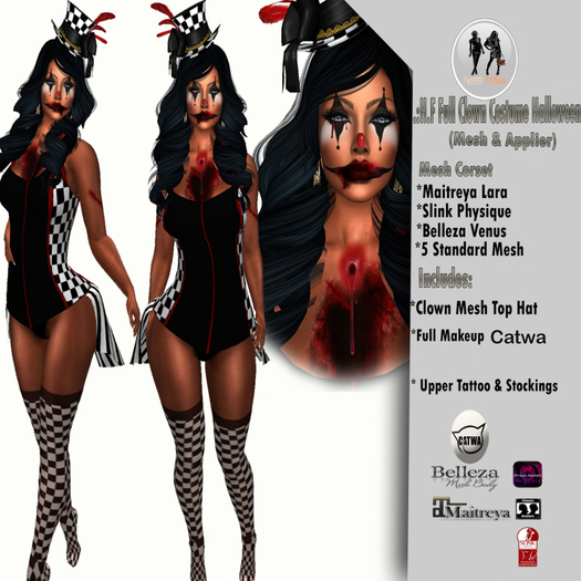 .:H.F Full Clown Costume Halloween (MESH & Applier)