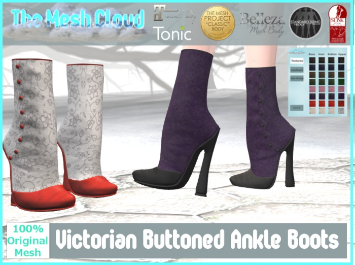 [TMC] Victorian Ankle Boots Texture Change for Classic, Maitreya, Slink, Belleza, Tonic, TMP