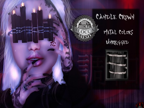 + Occult + Candle Crown Black (Silver Metal Colors)