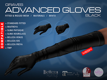 GRAVES Advanced Gloves - Black - mesh leather latex gloves, maitreya, belleza, slink ...