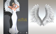 GLITTER - HEAVENLY Mesh Wings Pure White (JUST WINGS)