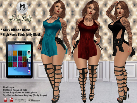 Second Life Marketplace H F Keily Outfit Sexy Ribbon Dress