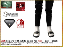 Bliensen + MaiTai - Zef - Sliders with white socks for men - Black