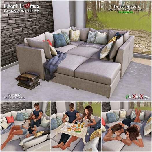 <Heart Homes> Couple Corner Sofa - PG - (copy, boxed)