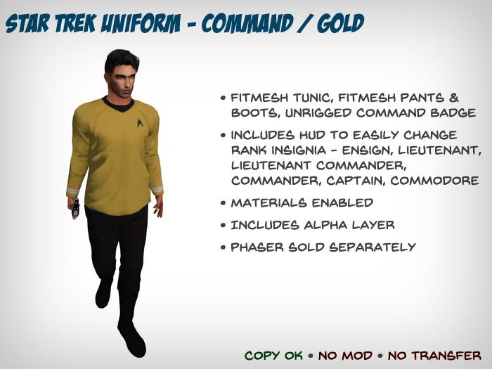 Star Trek Uniform (Kelvinverse) - Command / Gold - Fitmesh