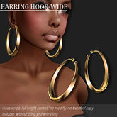 EARRING HOOP-WIDE GOLD       -RYCA-