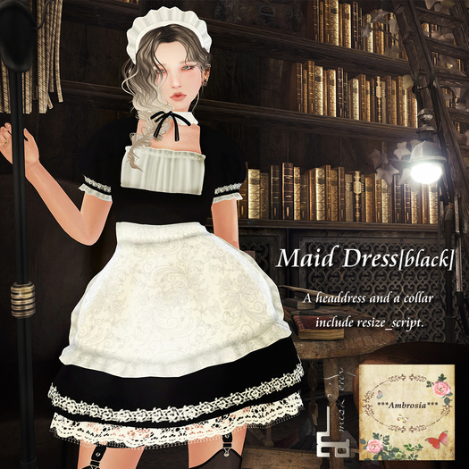 ***Ambrosia***Maid Dress[black] ~Maitreya_Fitted*