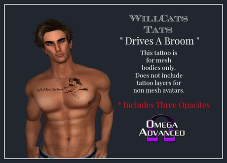 WillCat's Tats Drives A Broom Tattoo