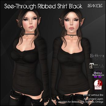 [ SAKIDE ] See-through Ribbed Shirt Black