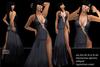 Promo offer BD-Tessa black evening gown sexy erotic slit side rhinestone strass applications flexi s