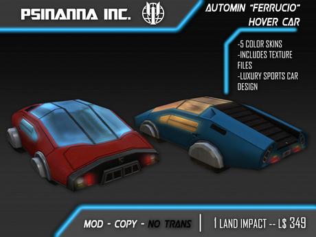 Second Life Marketplace Psinanna Inc Automin Hover Car Ferruccio