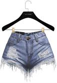 .:villena:. - Ripped Denim Shorts - Blue