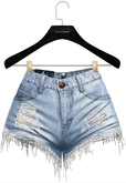 .:villena:. - Ripped Denim Shorts - Light Blue