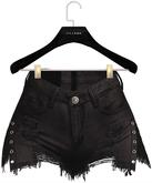 .:villena:. - Split Denim Shorts - Black