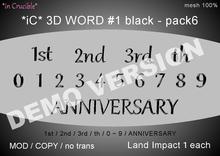 DEMO[*iC* 3D Words #1 black - pack6]DEMO
