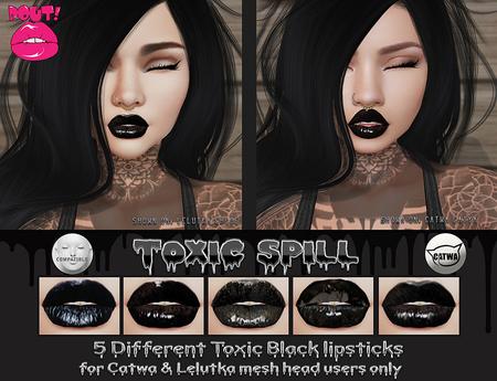 [POUT!] Toxic Spill Black Lipstick- CATWA & LELUTKA