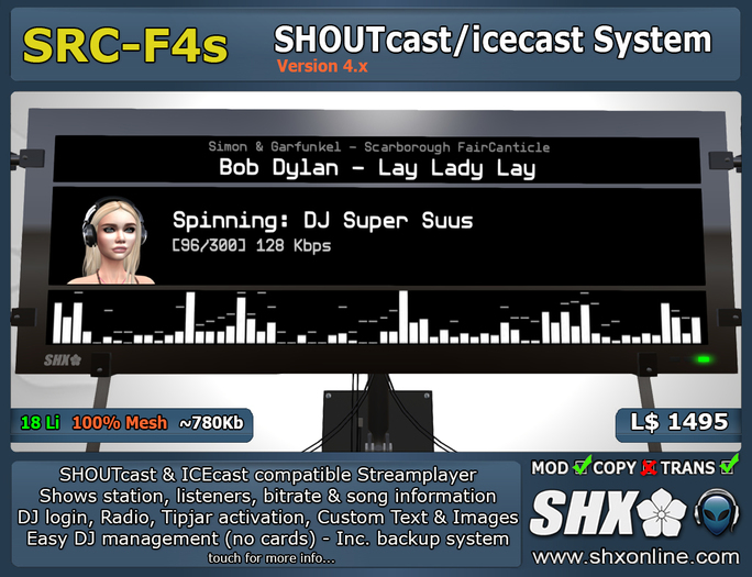 SHX SHOUTcast board Club & DJ system SRC-F4s