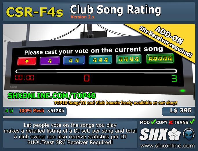 SHX-CSR-F4s - Club Song Rating