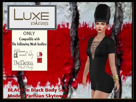 LUXE Paris BLACK in Black Body Suit