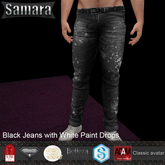 *Samara*Black White Paint Drop Jeans