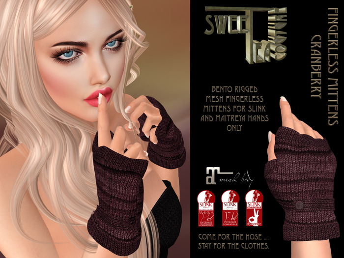 Sweet Tea Fingerless Mittens Cranberry bento mesh gloves for Maitreya and slink