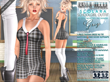 Bella Moda: Scolara Grey School Girl Outfit: Maitreya/Physique/Hourglass/Isis/Venus/Freya+Std - FULL