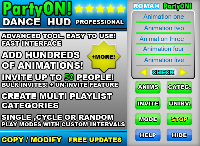 *SALE* PartyON Animator Dance HUD Advanced. with + 199 Dances Included!