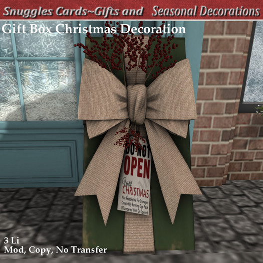 Gift Box Christmas Decoration By Snuggles  Boxed