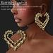 Earring Bamboo Double-Heart Gold   -RYCA-