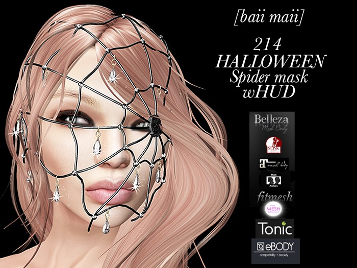 WEEKEND PROMO baii maii 214 HALLOWEEN Spider mask wHUD all mesh models Classic Maitreya Slink Belleza E-body TMP Tonic