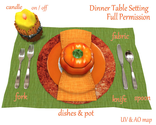 [ FULL PERM ] Thanksgiving Dinner Table Set