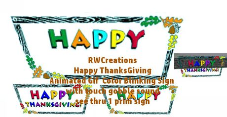 Second Life Marketplace Animated Gif Happy Thanksgiving Color Blink See Thru Sign Banner With Touch On Off Gobble Sound