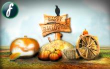 Halloween Pumpkin Hay Pile