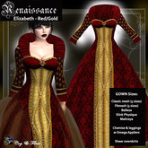 C&F Elizabeth Renaissance Gown w Mesh Body Sizes - Red/Gold