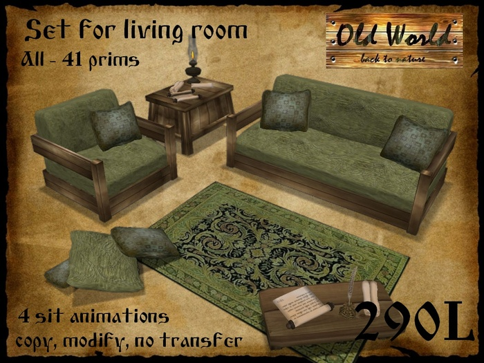 Second Life Marketplace Set For Living Room In Green Old World Medieval Furniture