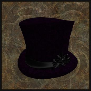EF-Hats: Purple Velvet Top Hat with Black Daffishdils