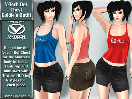 V-Tech Boi Chest Goldie's Tank and Mini-skirt