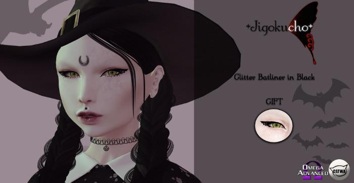 +Jigokucho+ Glitter Batliner in Black Gift