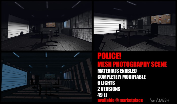 *cm*.MESH - Police! interrogation room - Mesh Backdrop Photo Scene
