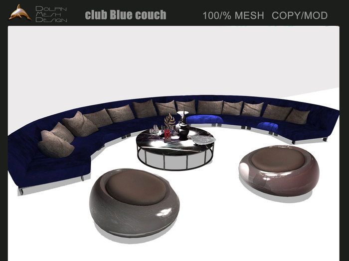 [Dolphin Design] club  blue couch