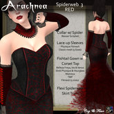C&F Arachnea 3 - Red Spiderweb Corset Gown