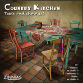 !Zinnias Country Kitchen Table and Chair Set