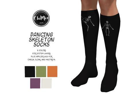 ChiMia:: Dancing Skeleton Knee-high Socks (Slink, Maitreya, Omega)