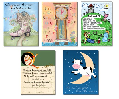 Kids Wall Decor Nursery Rhyme Five