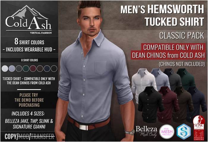 {COLD-ASH} Mens MESH HEMSWORTH Tucked Shirt (CLASSIC PACK)